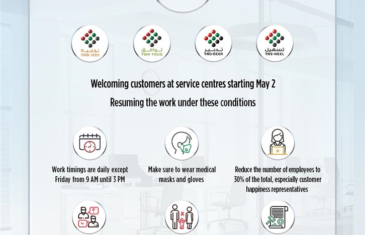 Welcoming customers at service centers starting May 2 Resuming the work under these conditions